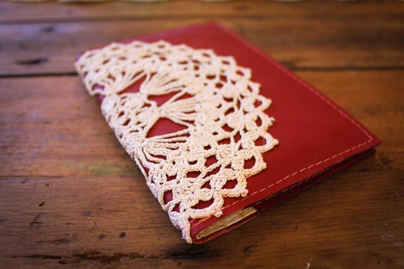NZFINCH Red Leather Passport Wallet, vintage doily