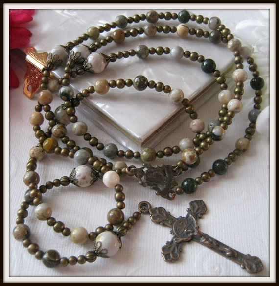 Catholic Rosary for Men, Ocean Jasper Rosary in Bronze