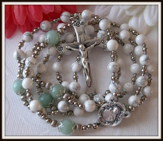 Catholic Rosary, White Howlite & Amazonite