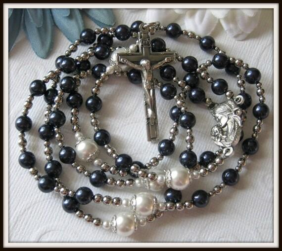 Boys Blue Catholic Rosary, Christening Catholic Baptism Rosary in Blue Swarovski Pearl