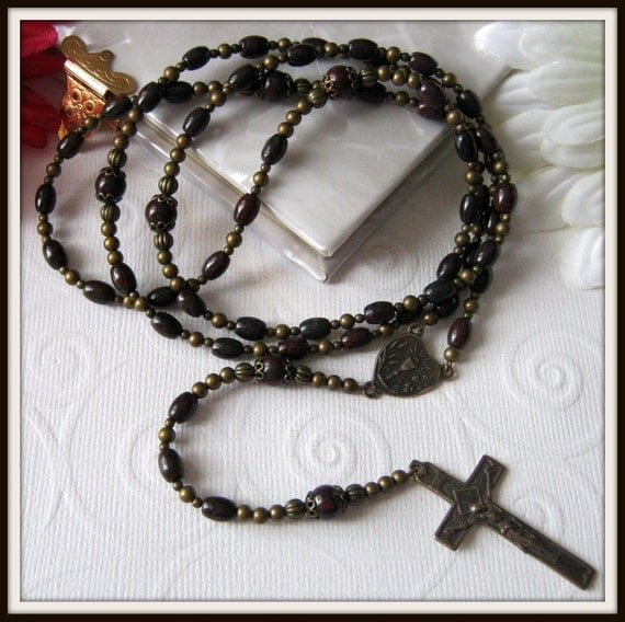 Boys Catholic First Communion Rosary, Bronze Rosary in Poppy Jasper w/ Chalice Center
