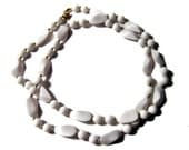 White Necklace Geometric White Bead Silver bead 60s Stylin