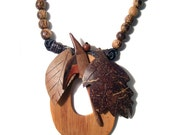 Hand Carved Wood Necklace Leaves Bird Big and Bold and NICE