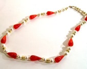Orange Teardrop Necklace Faux Pearl Gold tone nice