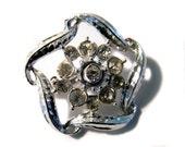 Vintage Rhinestone Brooch Silver Tone White Rhinestone jewelry