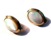 Vintage Mother of Pearl Clip Earrings Gold Tone