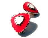 Red Enamel Earrings Clip style 80s and Fabulous