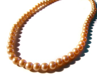 Faux Pearl Necklace Unusual amber yellow color