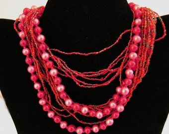 Multi Strand Necklace Seed Bead Faux Pearl Japan Boho
