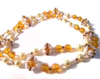 Retro Boho Necklace Yellow Amber faux pearl
