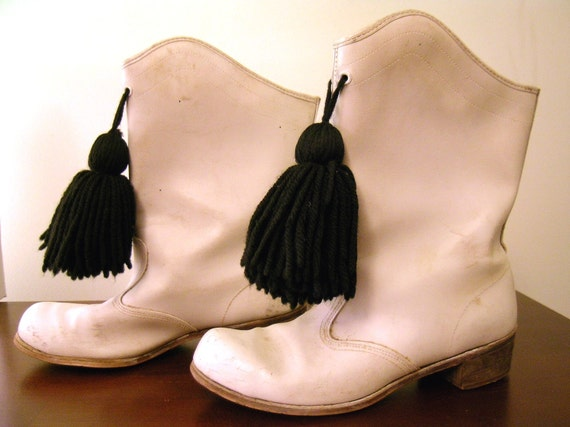 Vintage fifties 50s Majorette Boots with Pom Poms and tappers
