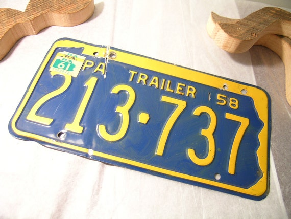 Vintage License Plate PA Trailer Blue Yellow 50s