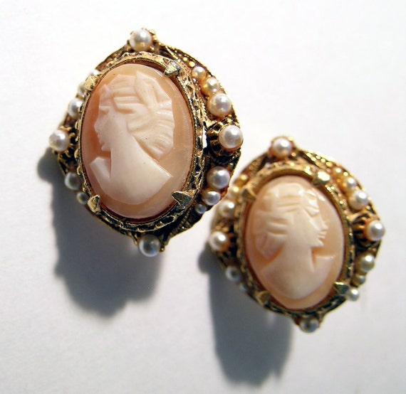 Vintage Cameo Clip Earrings Hand Carved