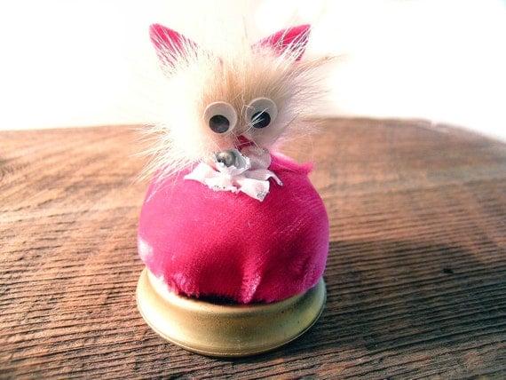 Vintage Pin Cushion Hot Pink Genuine Mink Cat