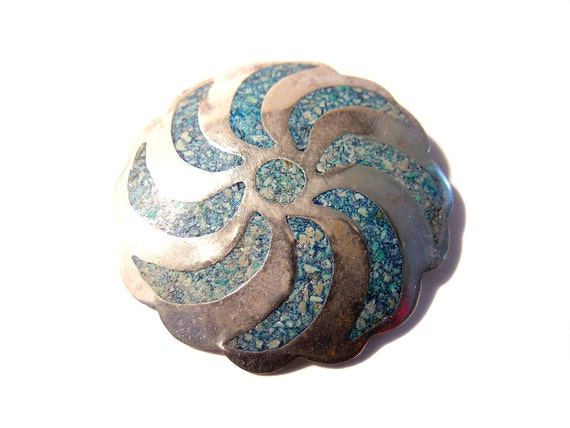 RESERVED For  Viviana Altman Sterling Silver Brooch Mexican Silver Turquoise