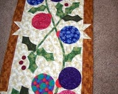 ORNAMENTS AND HOLLY - HOLIDAY TABLE RUNNER