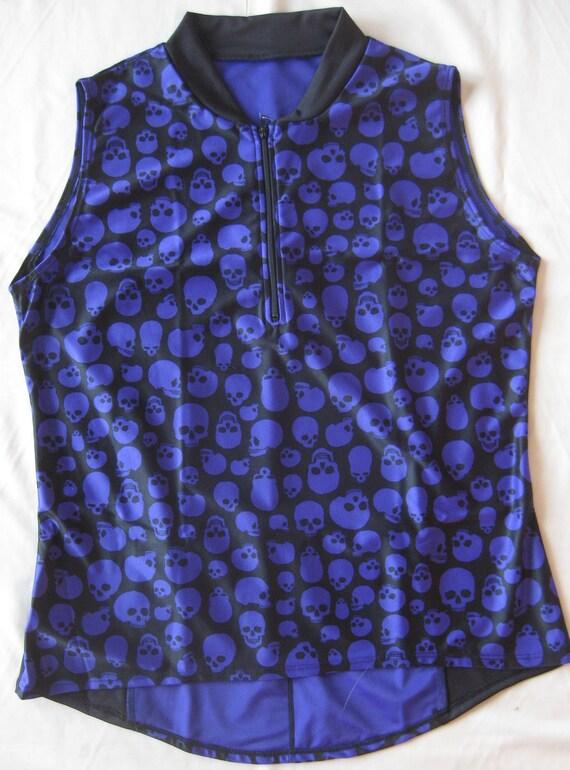 SMALL -Women's Cycling Jersey-Short Sleeve Purple / Black Skulls