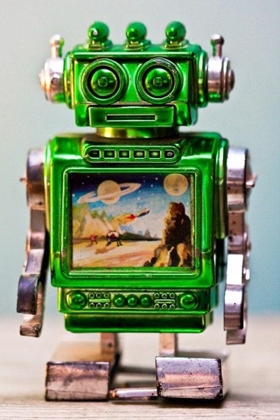 8x12 Photo Print: Vintage Green Space Robot Toy