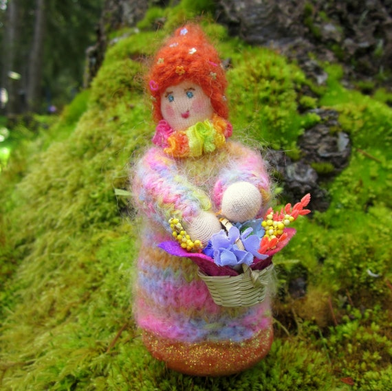 Small Knitted Spring Waldorf Style Doll With Bouquet For Your Nature Table