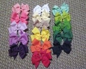 Wholesale Lot of 10 Solid Color Pinwheel Bows u pick colors FREE SHIPPING 4 Inch Bows