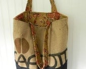 Coffee Bean Burlap tote with Denim Bottom and Floral Lining
