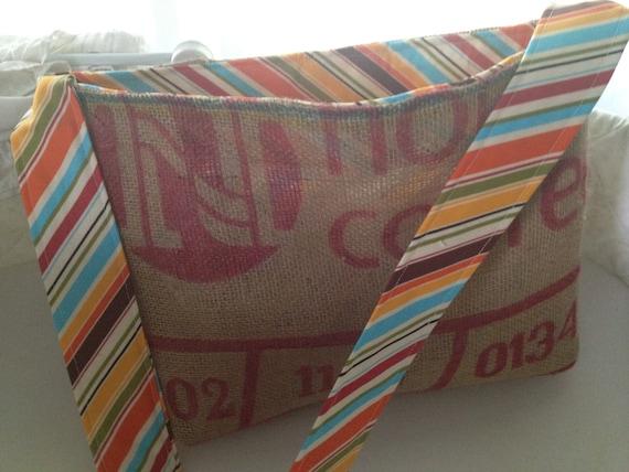 Striped Burlap Bag