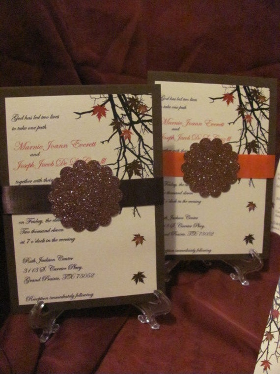 Fall Wedding Invitations, leaves, orange, red, tree branches, autumn