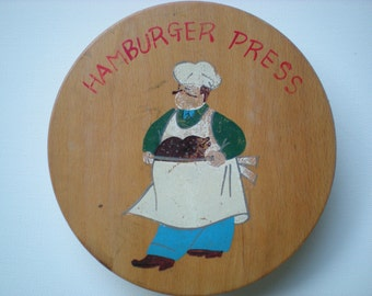 Vintage Wooden Hamburger or Vegi Burger Press
