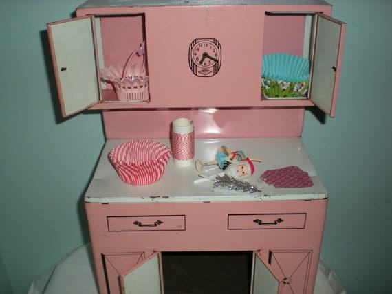 Vintage  Pink Kichen Cabinet Free Shipping US