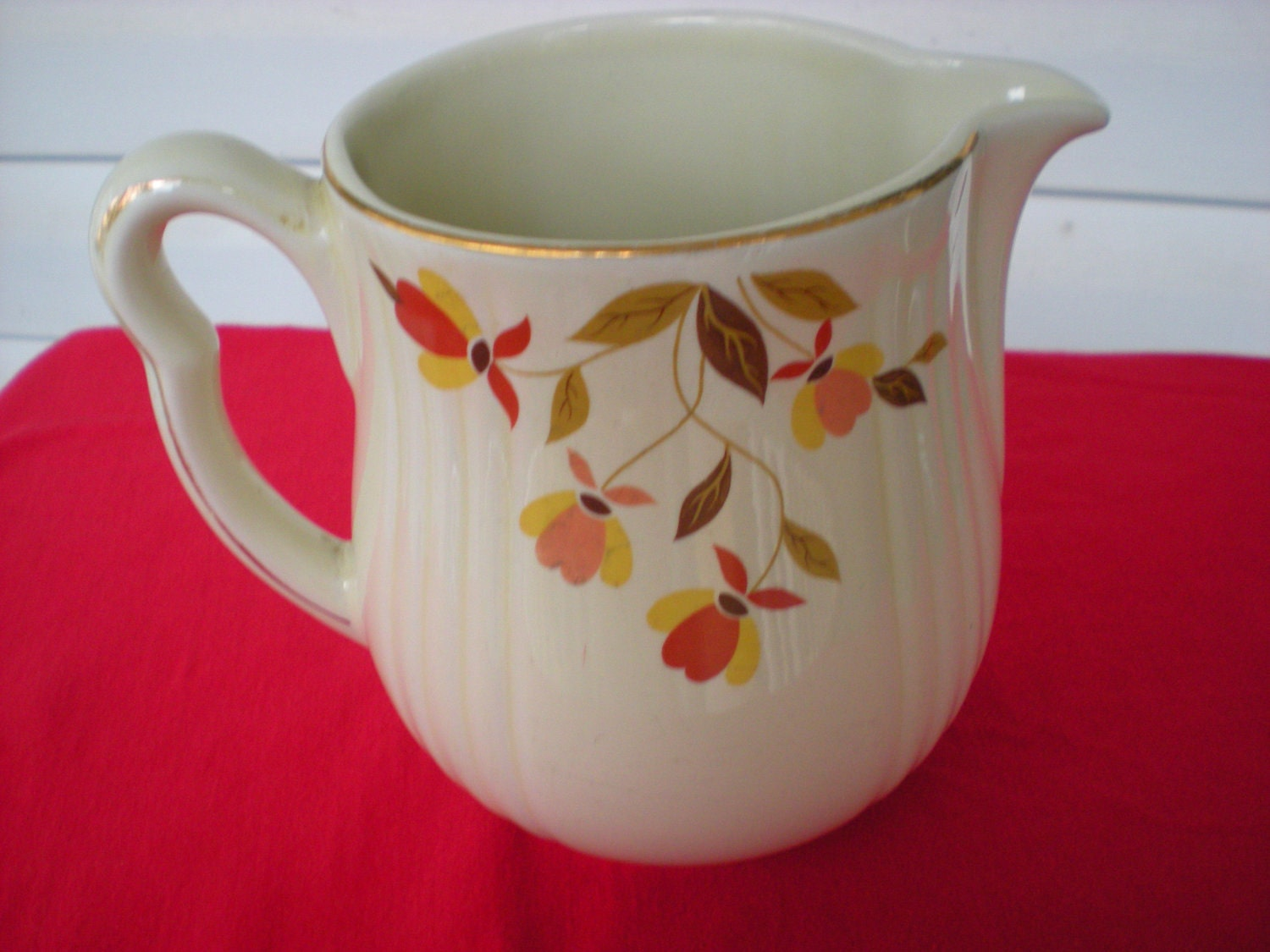 Vintage Hall S Quality Kitchenware Autumn Leaf Pitcher