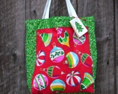 Christmas bag with Ornament Design Tote Bag doubles as a Spring Green Gift Bag