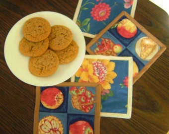 Coasters, mug rugs, set of 4, candle mats, coordinating apples and floral fabric