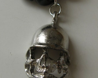 Skull Pendant and Black Glass Bead Necklace