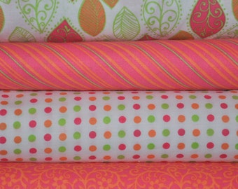 Pink Leaves bundle, 4 half yard cuts