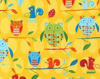 Animal Party Too Earth Owls by Amy Schimler for Robert Kaufman, 1/2 yard cotton fabric