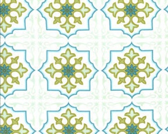 Sanctuary Temple Tiles Seafoam by Patty Young for Michael Miller, 1/2 yard