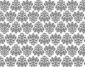Tuxedo Collection White Damask by Doodlebug Designs Inc for Riley Blake, 1/2 yard