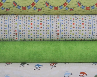 Scoot Green Trains 4 Fat Quarter Bundle by Deena Rutter for Riley Blake, 1 yard total
