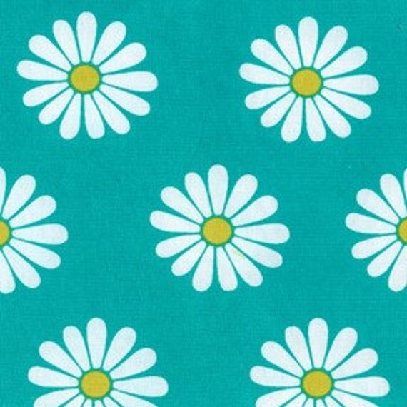 """Daisy Doodle Oopsie Daisy Turquoise for Michael Miller, 32"""" remnant"""