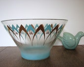 turquoise and gold midcentury bowl