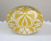 EXTRA LARGE Paperweight, Domed Glass, Yellow/Orange & White Damask Fabric Backing with Felt