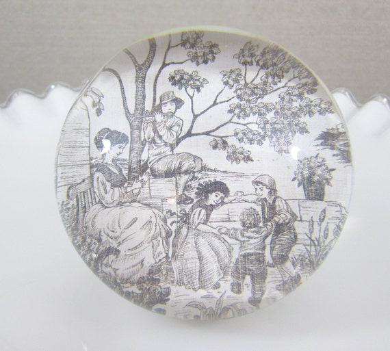 EXTRA LARGE Paperweight, Domed Glass, Black & White Toile Scenery, Paper Backing with Felt