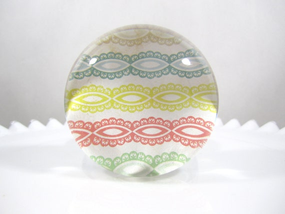 EXTRA LARGE Paperweight, Domed Glass, Rainbow Lace Archival Paper Backing with Felt, Blue, Yellow, Green, Red, White