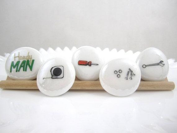 FREE United States Shipping, Hey Handyman, LARGE Glass Circle Magnets, Set of 5, Round Glass Magnets, Neodymium Magnets