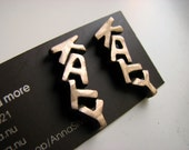 Custom made text earrings titanium posts