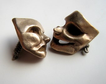 Theater mask cufflinks comedy and tragedy jewelry for men