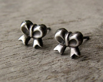 Silver bow earrings titanium or niobium posts