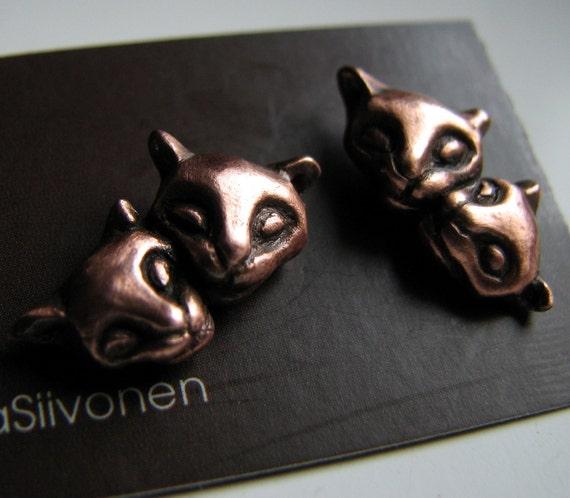 Kitty cat friendship earrings surgical steel  post