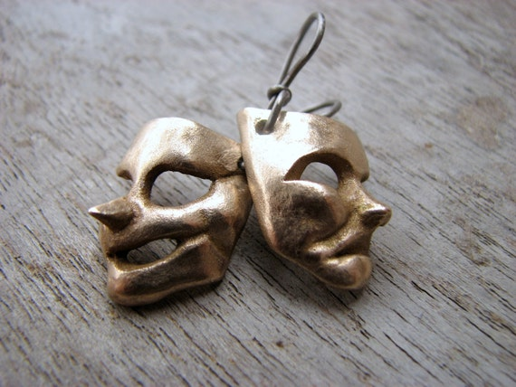 Comedy & tragedy titanium earrings