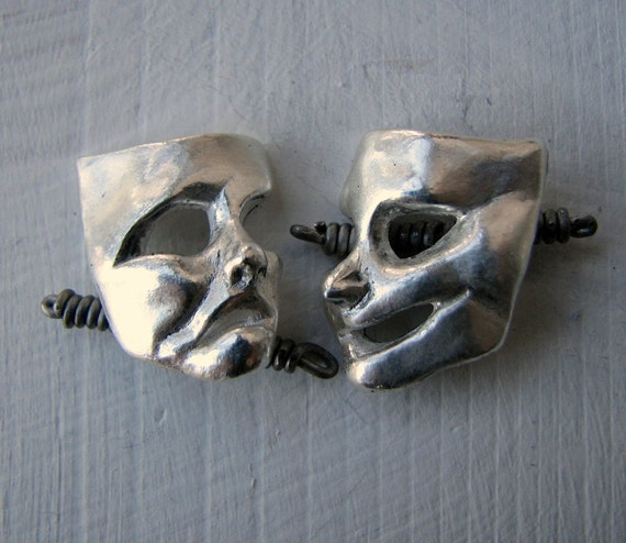 Silver cufflinks theater mask comedy and tragedy